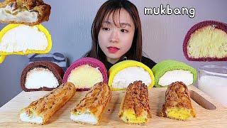 MUKBANG 크림 가득 롤케이크와 크로칸슈 디저트 먹방 CREAM ROLL CAKE CHOUX Dessert asmr 東京ロールケーキ
