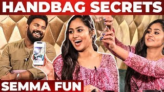 Serial Actress Sreethu Krishnan Handbag Secrets Revealed by VJ Ashiq | What's Inside the HANDBAG