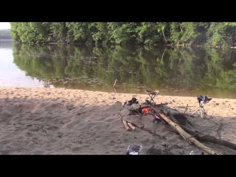 Motorbike camping and fishing on the Ottawa River