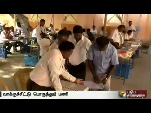Armed forces provide security for the preparatory work in Gudiyatham