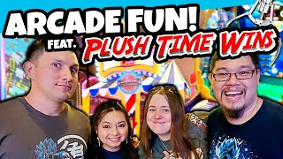 Arcade Fun with Plush Time Wins! Hanging out with Angel and Crystal!
