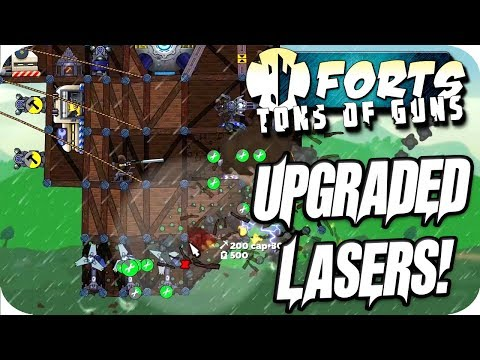 Forts Multiplayer 4v4 Gameplay Upgraded Laser & Tier 3 Weapons!