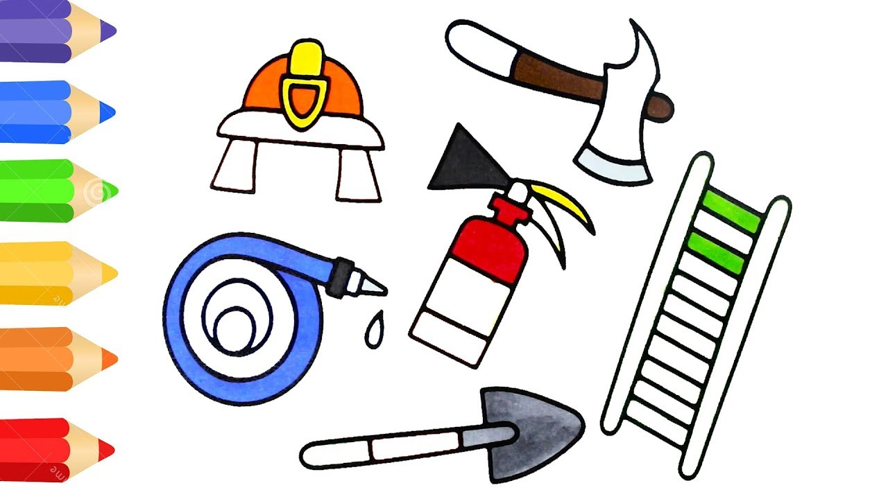 how to draw firefighter tool coloring pages for kids art colour