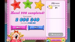 Candy Crush Saga Level 990    ★★★   NO BOOSTER ( 2,095,340 points )