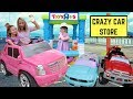 Crazy Car Store ~ Addy Runs Errands at Maya's Fake Toys R Us Drive Thru