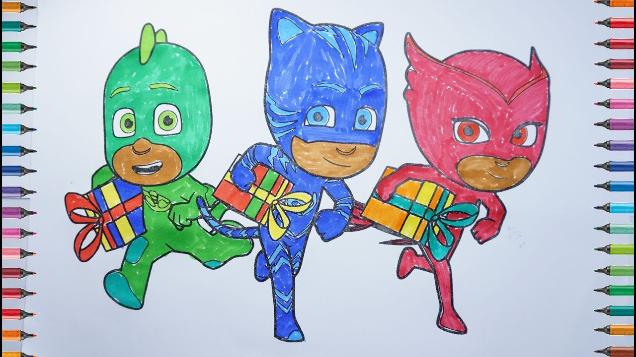 Les Pyjamasques Coloriage Pj Masks Coloring Birtday Cake Youtube