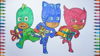 Les pyjamasques coloriage - PJ Masks Coloring Birtday Cake