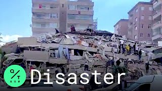 Buildings Collapse In Izmir, Turkey After Earthquake Strikes Aegean Sea