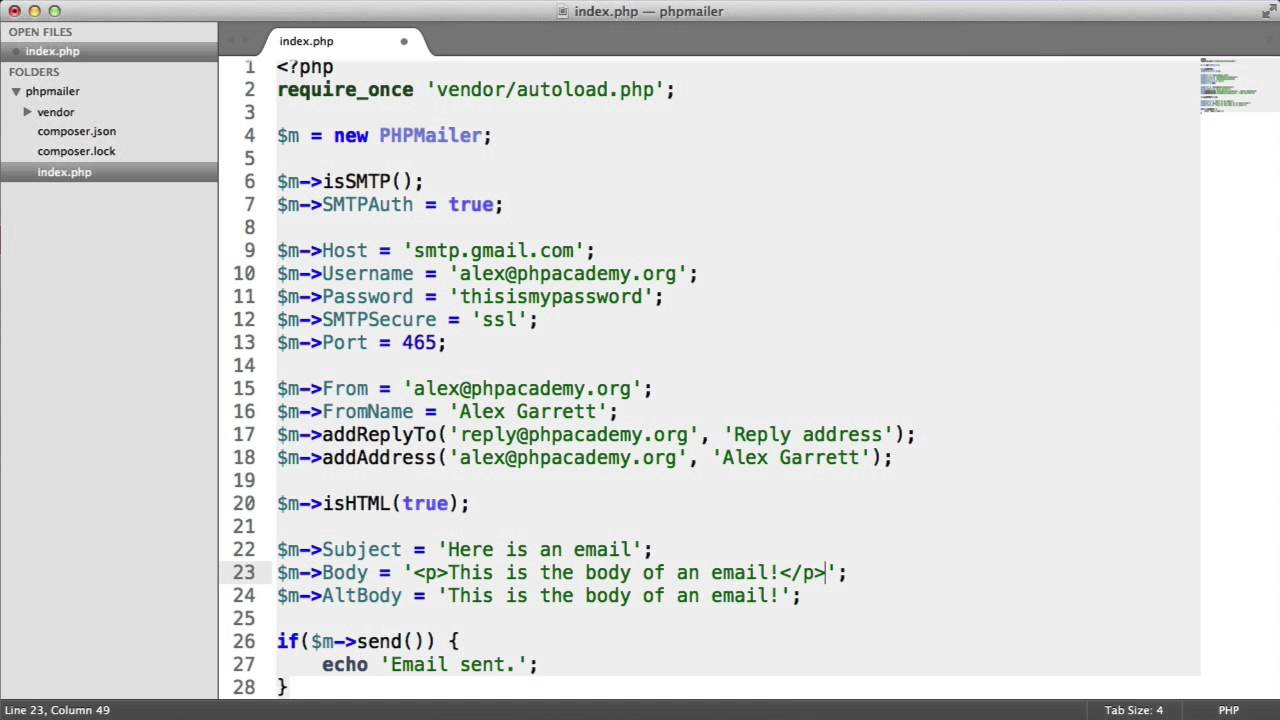 Send Email With PHPMailer: HTML Email (Part 4/5) - YouTube