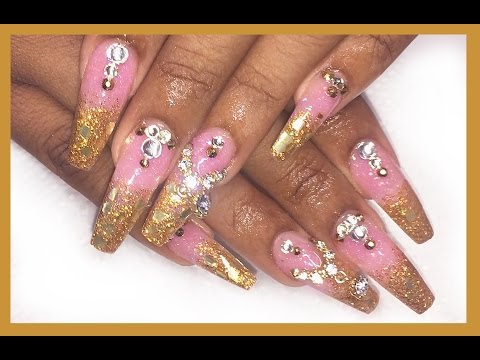Pink Gold Glitter Ombré Allpowder Acrylic Nails