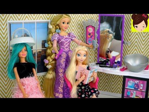 Barbie Rapunzel Peluqueria - Peinando y Cortando el Cabello de Muñecas Frozen Elsa