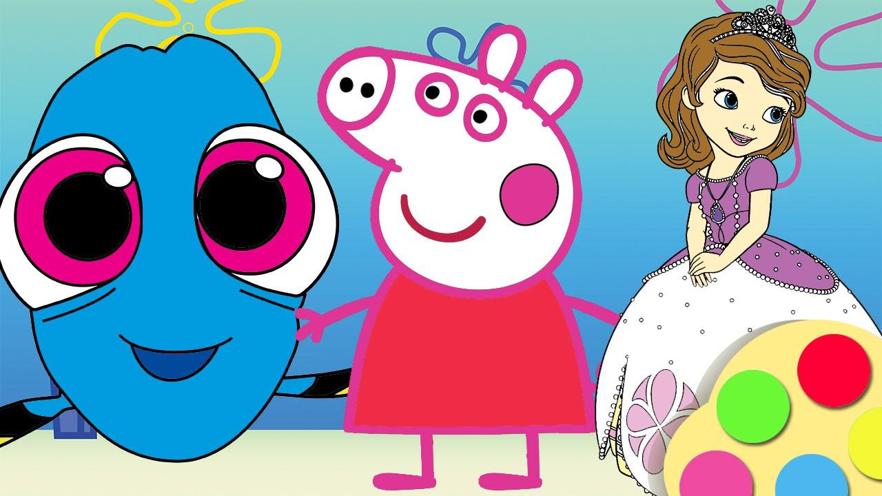 BUSCANDO A DORY JUEGO DE COLOREAR Y PINTAR a Peppa Pig Princesa