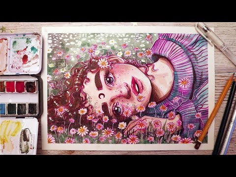 """Experimenting with your Art // """"Daisy"""" Watercolour painting process"""