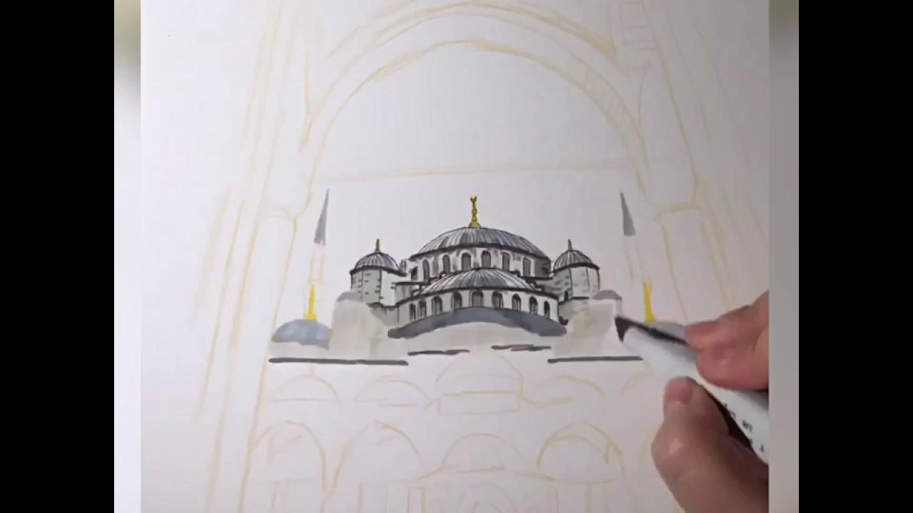 Sultanahmet Cami Cizimi Drawing Hizli Cekim Youtube