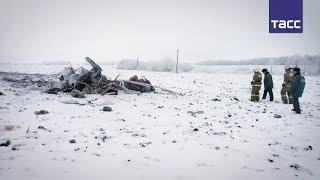 Кадры с места крушения вертолета в Тамбовской области