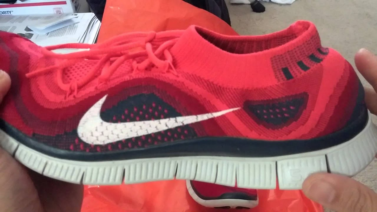 Nike free flyknit 5.0 crimsongym redsquadron blue - YouTube