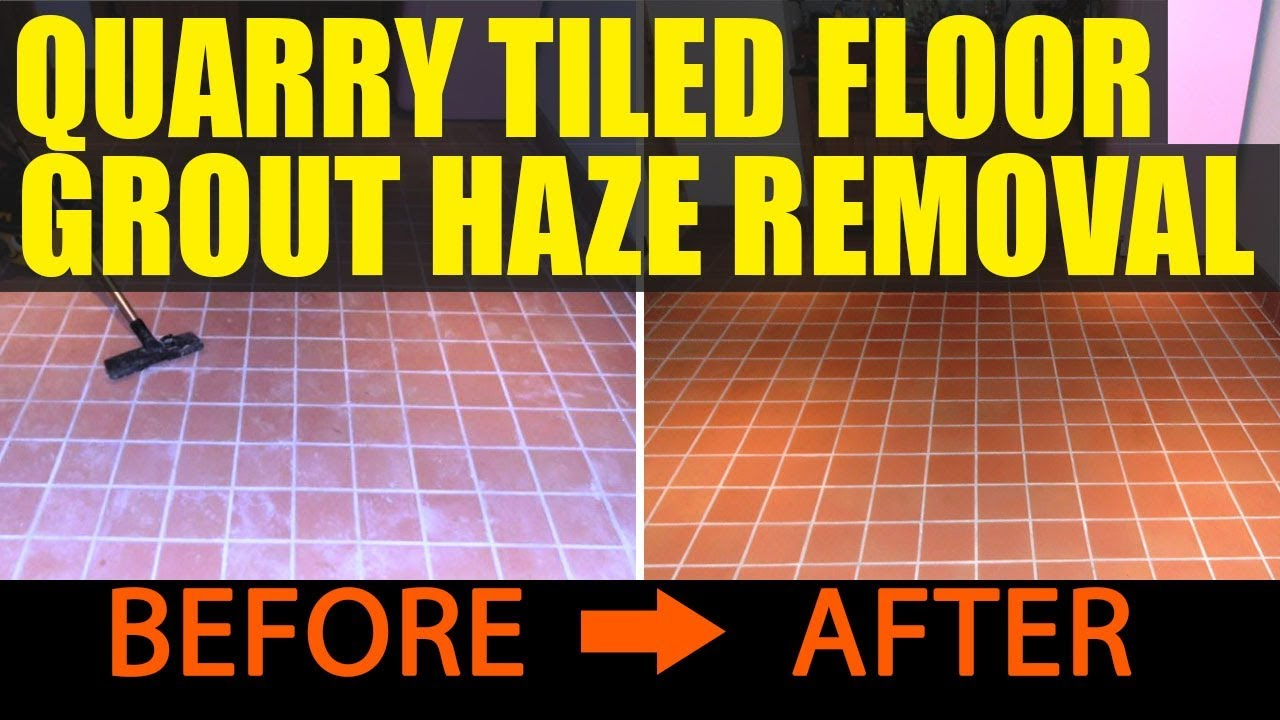 Cleaning and Removing Grout Haze from a Quarry Tiled floor - YouTube