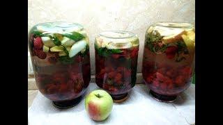 Компот из кизила на зиму с яблоками и мятой