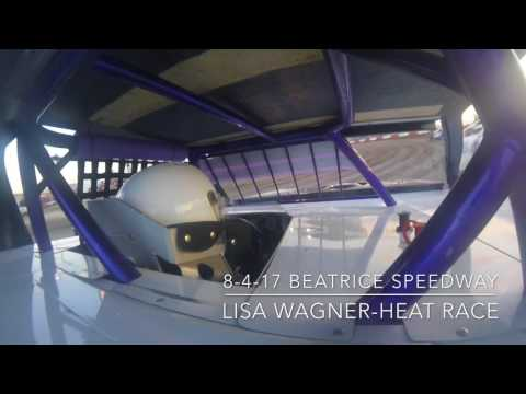 Beatrice Speedway 8-4-17 IMCA Modified Heat Race, Lisa Wagner, In Car Camera