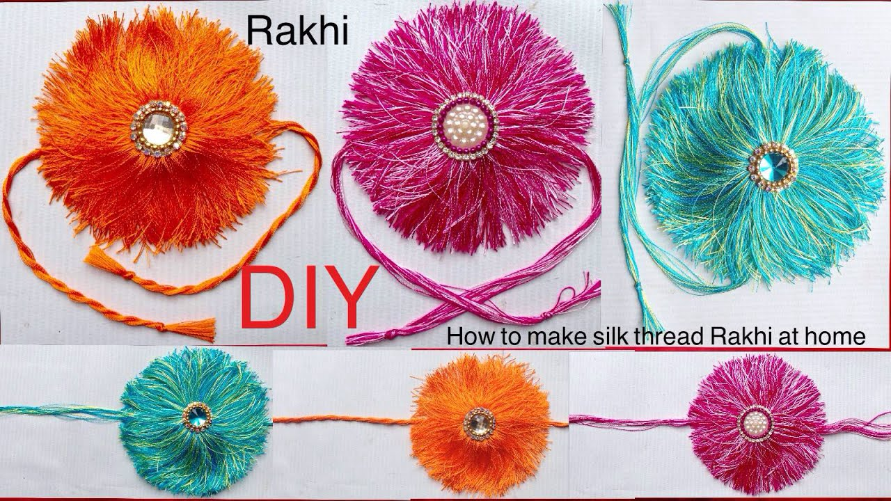 How to make rakhi diy how to make silk thread rakhi at for Making hut with waste material