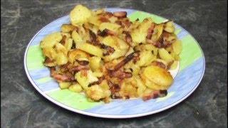 Лайфхак с едой, жареная картошка с салом