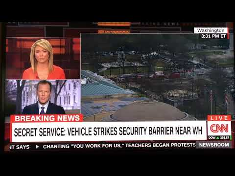 Vehicle rams White House security barrier!