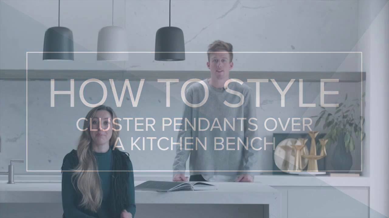 How to style and cluster pendants over a kitchen bench - YouTube
