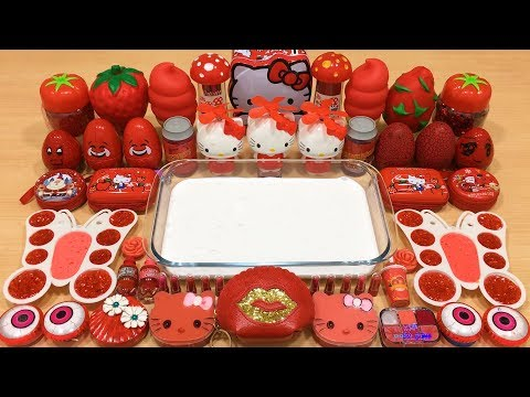 Series RED HELLO KITTY Slime ! Mixing Random Things into GLOSSY Slime! Satisfying Slime Videos #103
