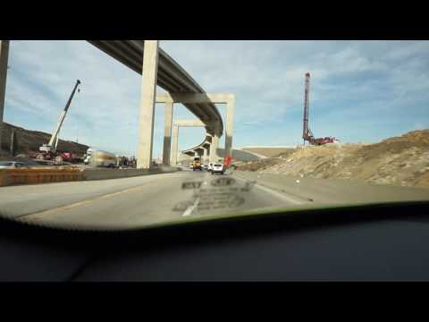 Dashcam view of I-820 / I-35W interchange construction at Fort Worth, Texas.