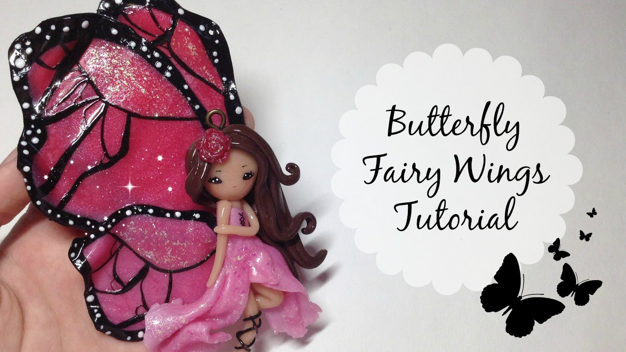 Tutorial polymer clay butterfly fairy wings no paint How to make a fairy door out of clay