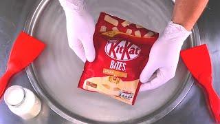 Kit Kat Ice Cream Rolls - how to make KitKat White Chocolate Bites to fried Ice Cream | Food ASMR