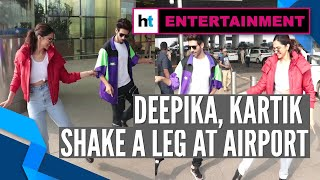 Deepika Padukone learns 'Dheeme Dheeme' hook step from Kartik Aaryan at airport