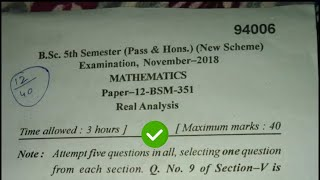 [2018] Mdu Bsc 5th Sem Maths Real Analysis Question Paper #MduQuestionPaper