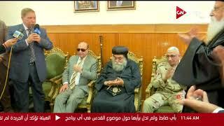 محافظ الإسماعيلية والفريق مهاب مميش يقدمان التهنئة للأخوة الأقباط بكنيسة الإسماعيلية