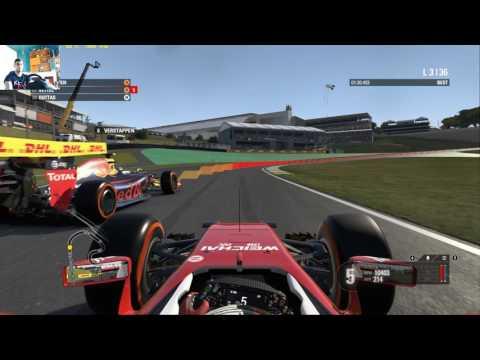 Formula 1 gameplay using a Thrumaster T300RS Gt Edition Brazil racing Weekend F1 Scuderia Ferrari