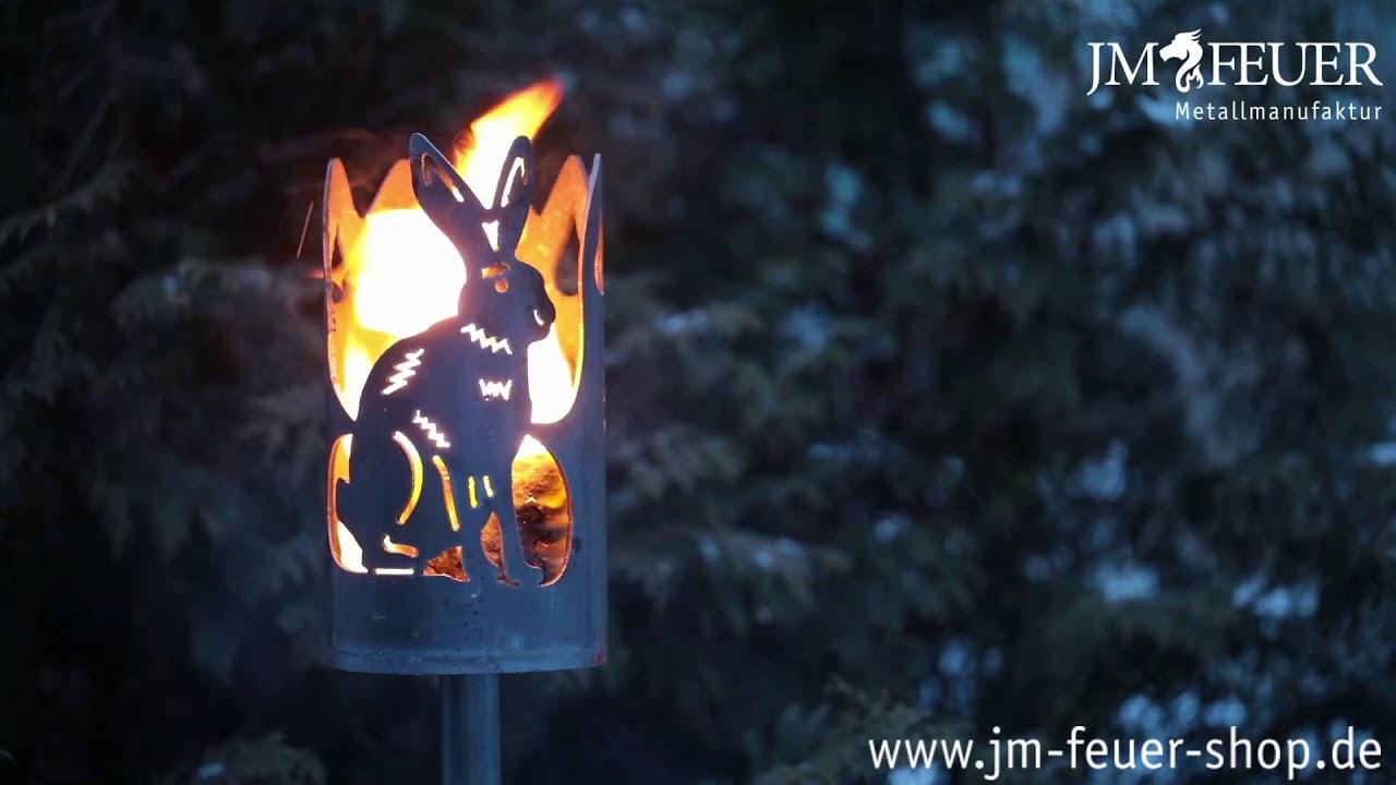 Jm Feuer Shop gartenfackel hase aus metall