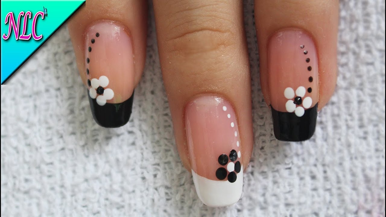Diseño De Uñas Flores Blanco Y Negro Muy Fácil French Nail Art Nlc