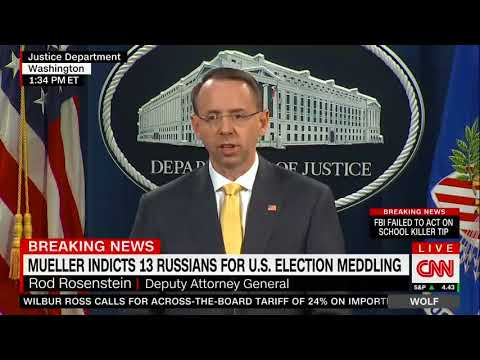 WATCH: Rosenstein Announces Indictments For Russia Election Meddling
