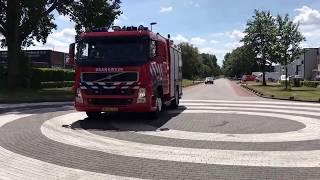 P1 brandweer met spoed naar grote brand in waalwijk