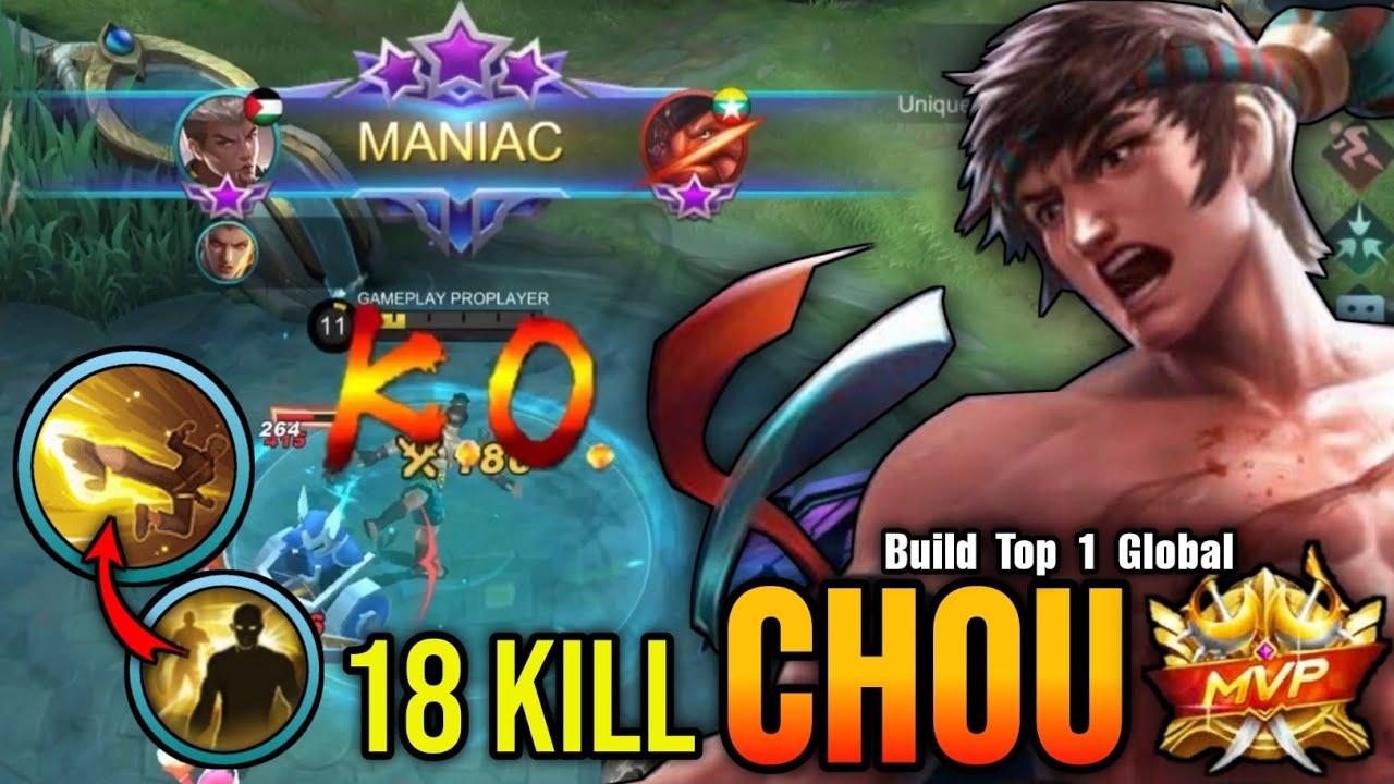 18 Kills + MANIAC!! Chou Freestyle Flicker Combo - Build Top 1 Global Chou ~ MLBB