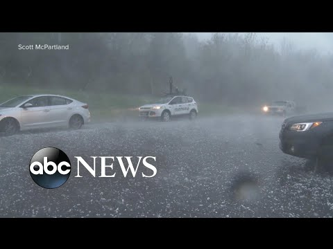 Powerful storms lash the Northeast, dropping tennis ball-size hail