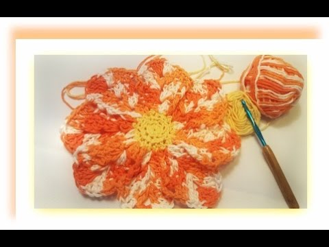 How To Crochet A Flower Dishcloth Youtube