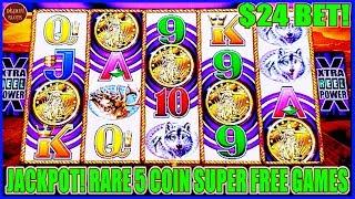 $24 BET RARE 5 COIN SUPER FREE GAMES JACKPOT!  HIGH LIMIT BUFFALO GOLD