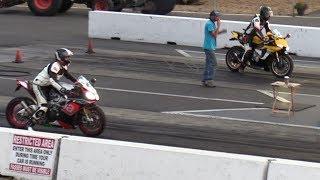Aprilia RSv4 RR vs R1 Yamaha - superbikes drag racing