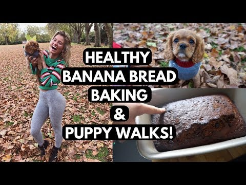 HEALTHY BANANA BREAD RECIPE & My Puppys First Walk | VLOG