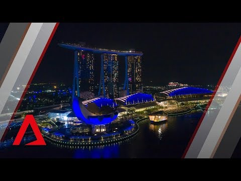 Singapore Skyline Turns Blue For World Water Day
