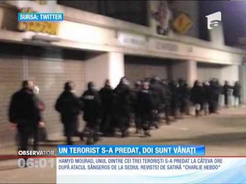 Unul dintre cei trei terorişti implicați în atentatul din Franța a fost prins