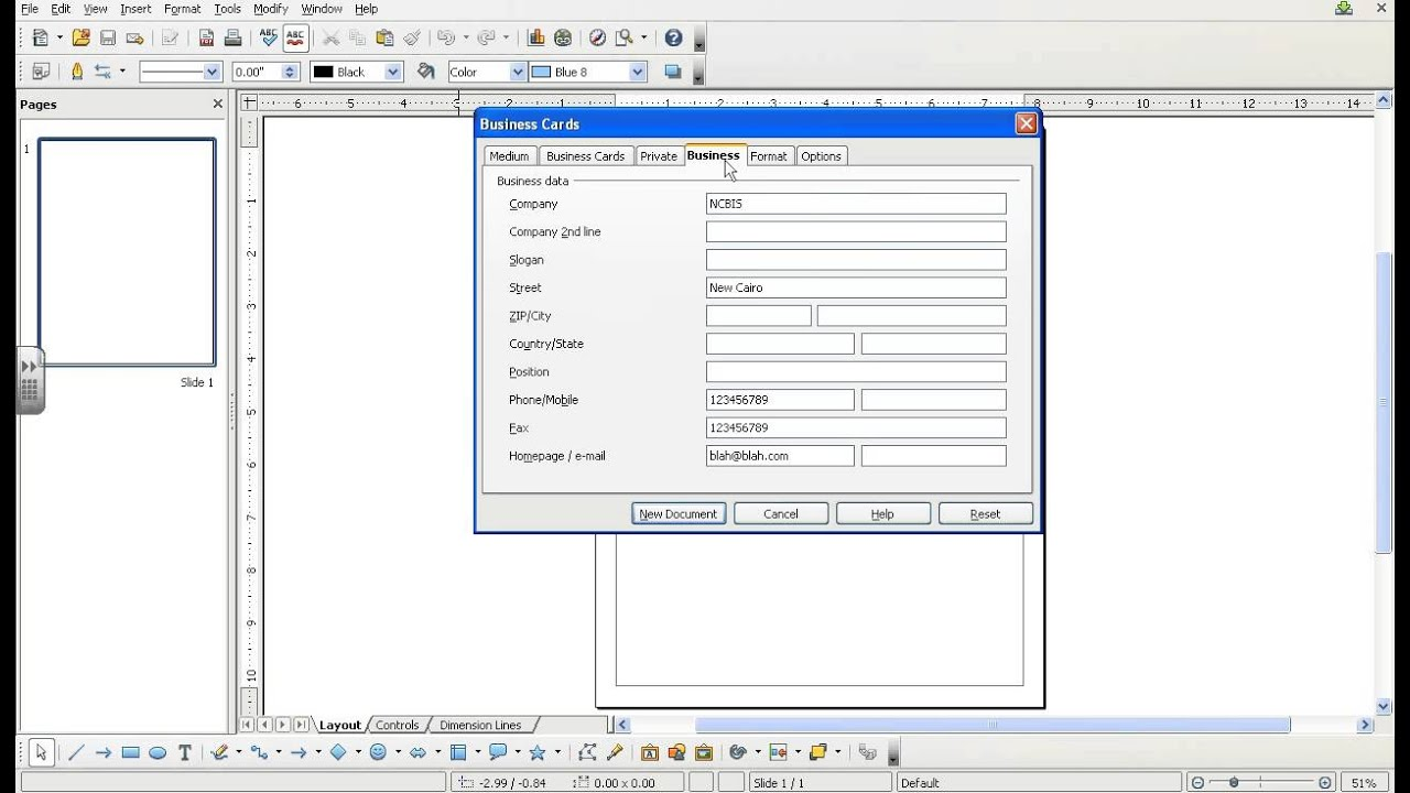 How to create a biz card using Open Office Draw 3.1 by icttoolbox ...