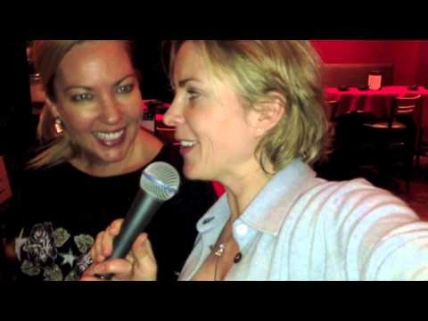 Jenya Russian Firecracker (Jane Orlov) and Angie Levine (CMO of Essante Organics) singing karaoke