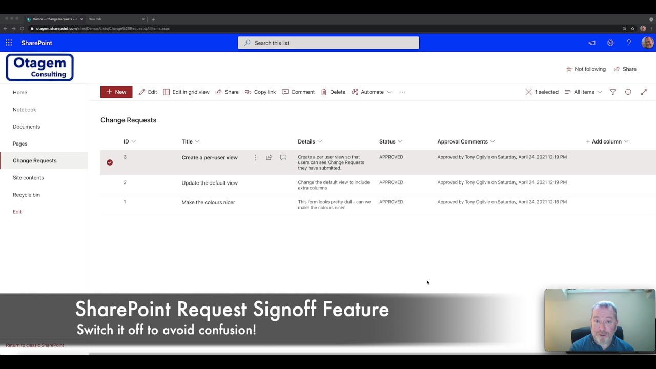"Turning off the ""Request Sign-off"" feature in a SharePoint Online List"